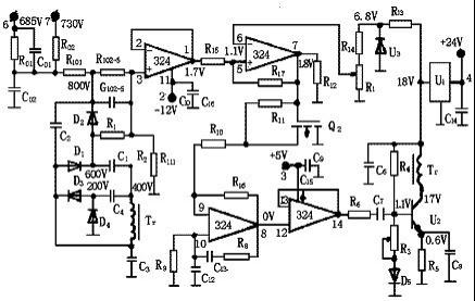集成块lm324的一半组成2个负反馈电压跟随器